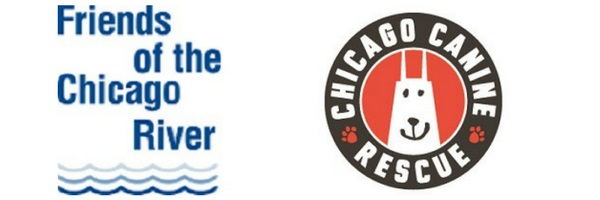 logos: Friends of the Chicago River & Chicago Canine Rescue